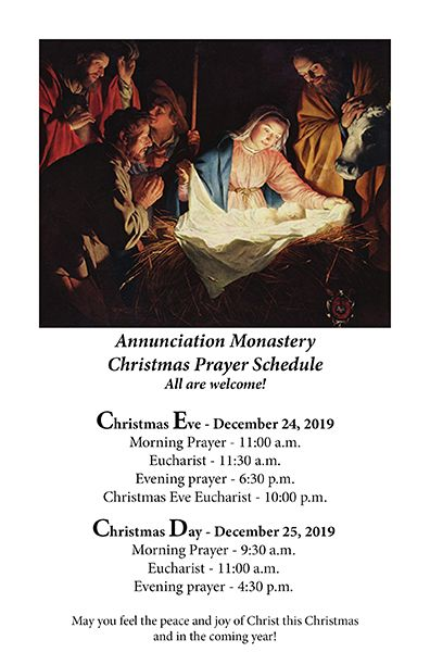 Christmas Prayer Schedule - All are welcome!