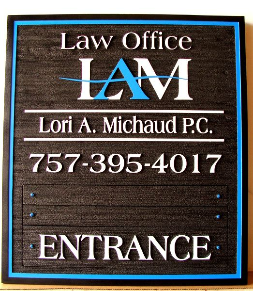 A10138 - Carved and Sandblasted Wood Law Office Entrance Sign