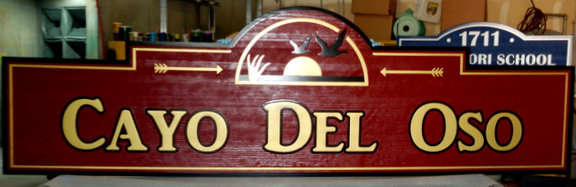 "K20176 - Sandblasted Redwood  Directional Sign for ""Cayo del Oso,""  24-K Gold Leaf Print with Carved Sun and Birds"