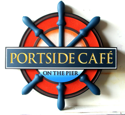 "Q25113 - Carved Wood and HDU Ship's Wheel Seafood Restaurant Sign ""Portside Cafe on the Pier"""