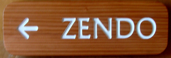 "SA28797 - Engraved Cedar Wood Directional Sign ""Zendo"" with Arrow"