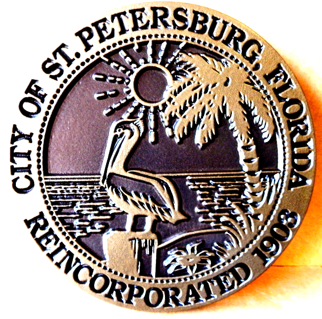X33154 - 2.5-D Carved Brass-Coated Wall Plaque of the Seal of St. Petersburg, Florida, with Pelican and Palm Tree