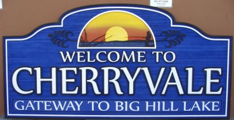 "F15020 - ""Welcome to Cherryvale"" Village Entrance Carved Wooden Sign"