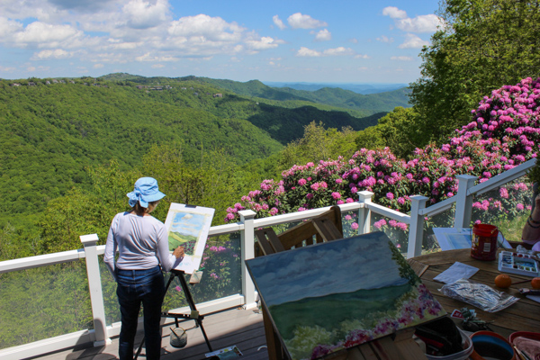 Participants enjoying the view from Westglow Resort during Dwight Rose's workshop in the 2019 BlowingRock Plein Air Festival