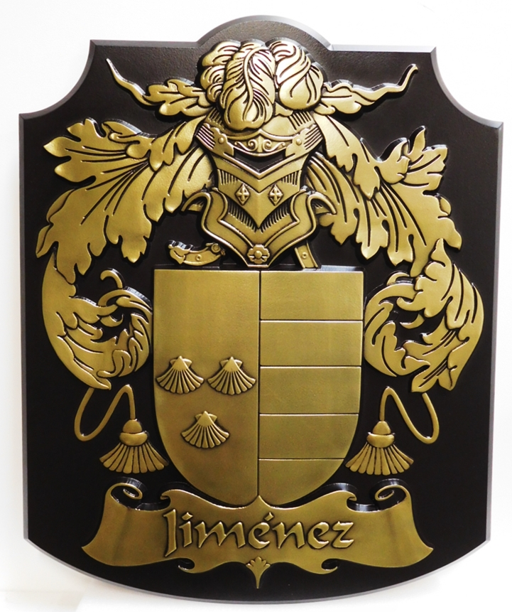 XP-1059 - Coat-of-Arms with Helmet, Shield, Flourishes, and Banner, for the Jimenez Family, 3D Brass-Plated with Black Patina