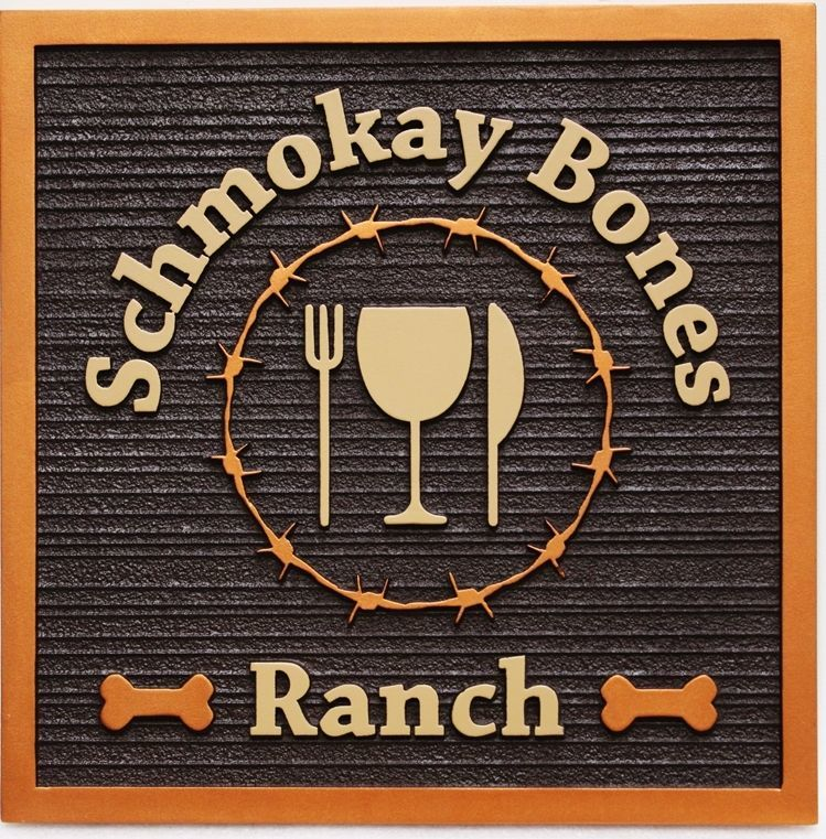 "Q25031 - Carve 2.5-D and Sandblasted entrance Sign for ""Schmokay Bones Ranch"" Restaurant , with a WineGlass, Knife and Fork as Artwork"