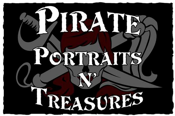 """SA28407 - Carved 2.5-D Sign for Pirate """"Portraits and Treasures"""" Store  with Skull and Crossed Swords as Artwork"""