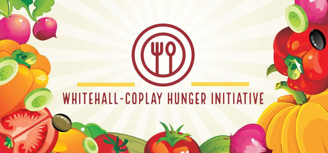Whitehall-Coplay Hunger Initiative logo featuring fruits and vegetable surrounding a fork and spoon on a plate.