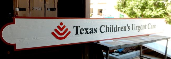"""B11008 - Large """"Texas Children´s Urgent Care"""" High Density Urethane Outdoor Sign with Carved, Raised, Text, Border and Logo"""