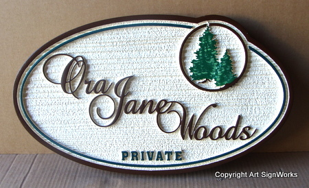 M22080 - Property Sign with Spruce Trees