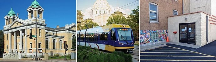 Christ Lutheran on Capitol Hill, Light Rail train on University Ave behind Capitol, back entrance to Daily Work