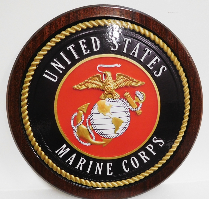 KP-1125 -  Carved Emblem  of the US Marine Corps, Mahogany, 3-D Artist Painted. Mounted  on Mahogany Base