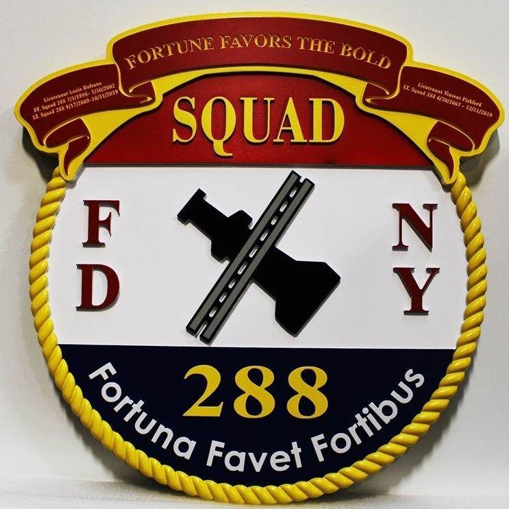QP-3001 - Carved 2.5-D HDU  Plaque of the Emblemof Squad 288 of the New York City Fire Department