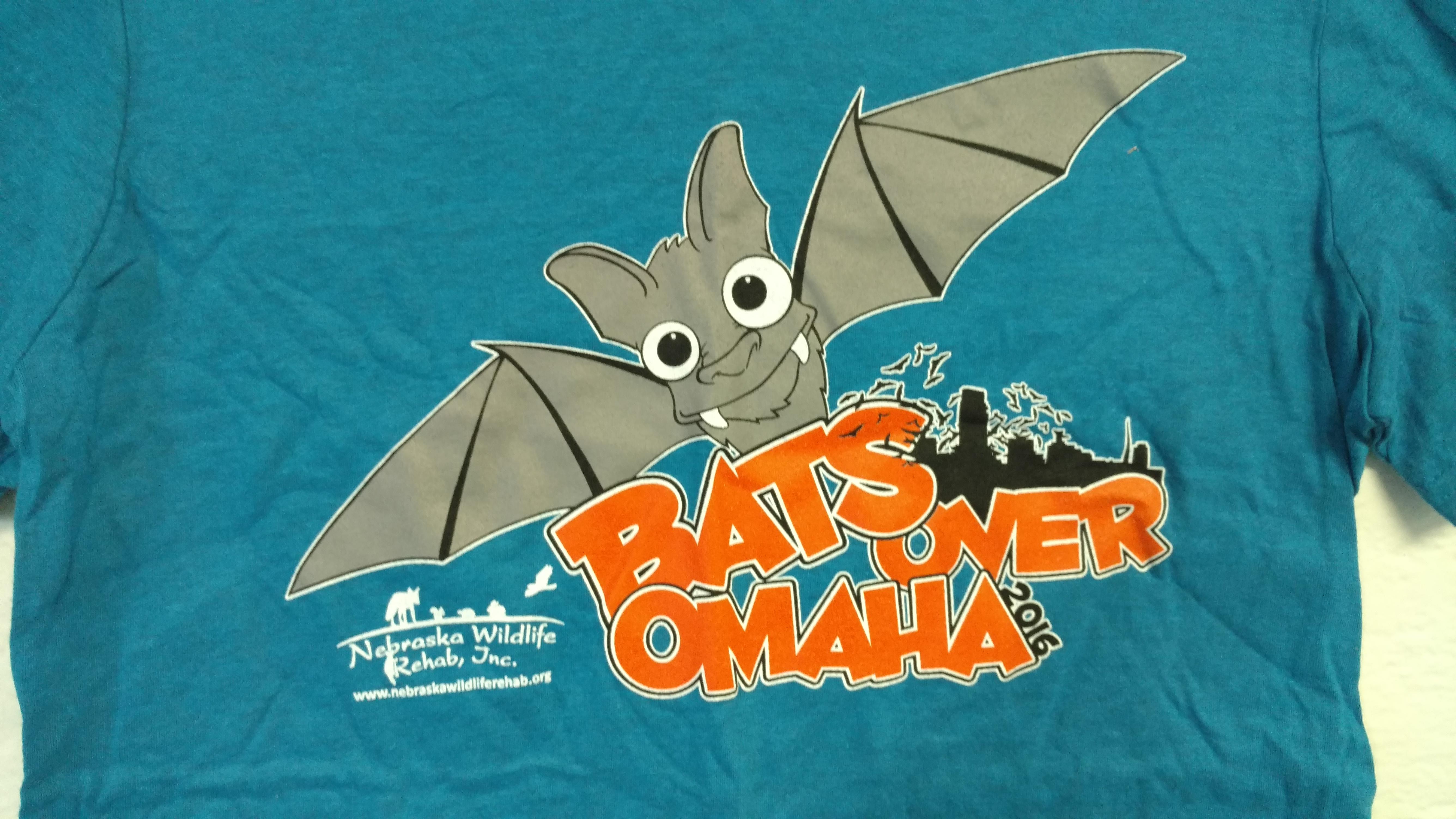 Bats Over Omaha Bat Release T-Shirt - 2016: Adult Medium, Teal