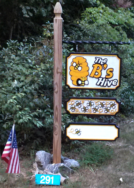 Q25626 - Carved, Post-Mounted HDU Signs for a Bee Hive Honey Store
