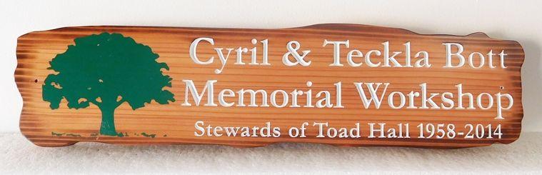 "N23630 - Engraved Cedar Wall Plaque ""Memorial Workship"" with Tree as Artwork"
