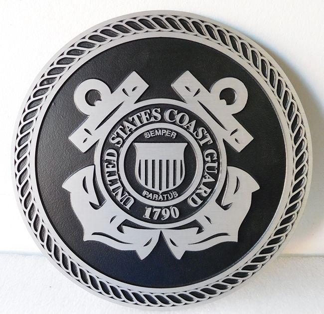 NP-1260- Cast Plaque of the Great Seal of the US Coast Guard, 2.5-D Cast Aluminum