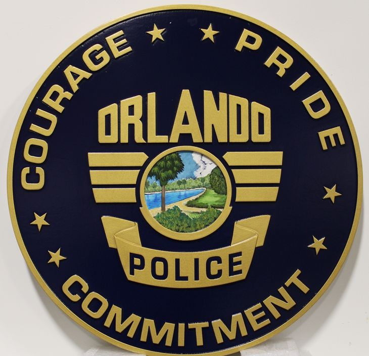 PP-3322 - Carved Plaque of the Seal of the Police Department of Orlando, Florida, 2.5-D Artist-Painted