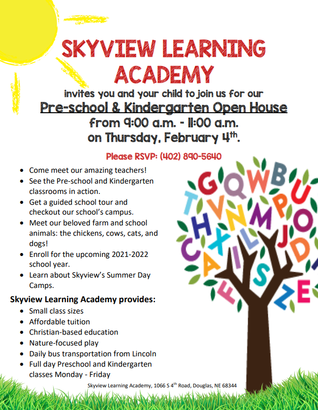 Join us for our Pre-school and Kindergarten Open House on February 4th, 2021