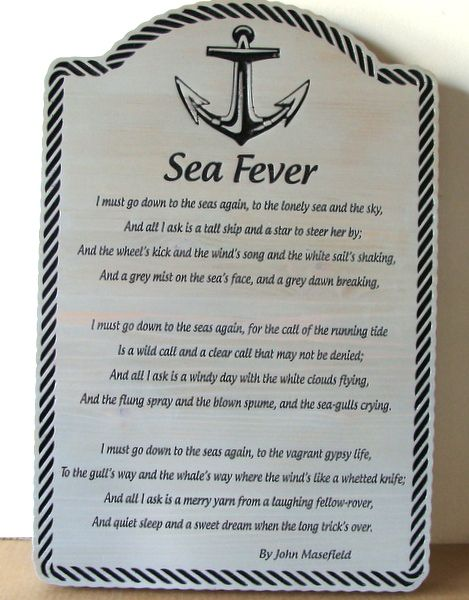 "JP-1410 -  Engraved  Plaque of Poem ""Sea Fever"" by John Masefield, on Cedar Wood"