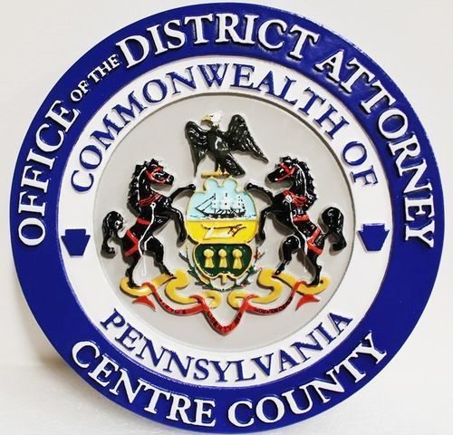 CP-1086 - Carved Plaque of the Seal of the District Attorney, Centre County, Pennsylvania, 3-D Artist-Painted