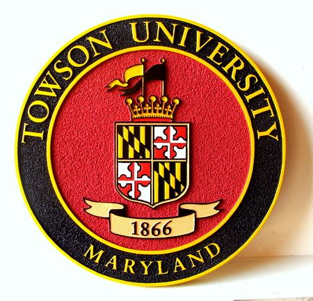 RP-1720 - Carved Wall Plaque of  the Seal of Towson University, Maryland, Artist Painted