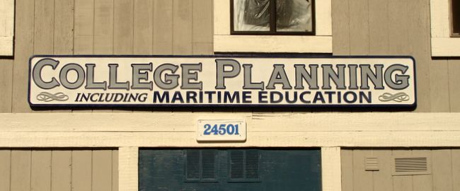 """SA28470 - Large Carved HDU Sign for """"College Planning including Maritime Education"""" Office"""