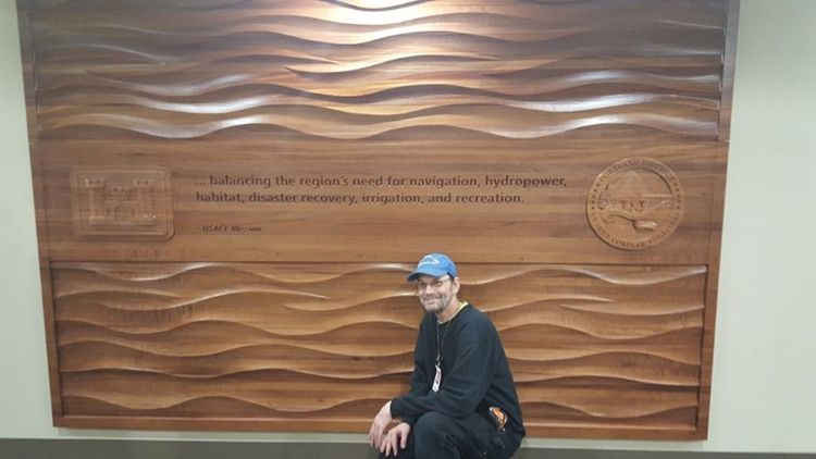 V31814 - Carved 3-D Natural African Mahogany  Wall Panel for the Portland District of the  US Army Corps of Engineers
