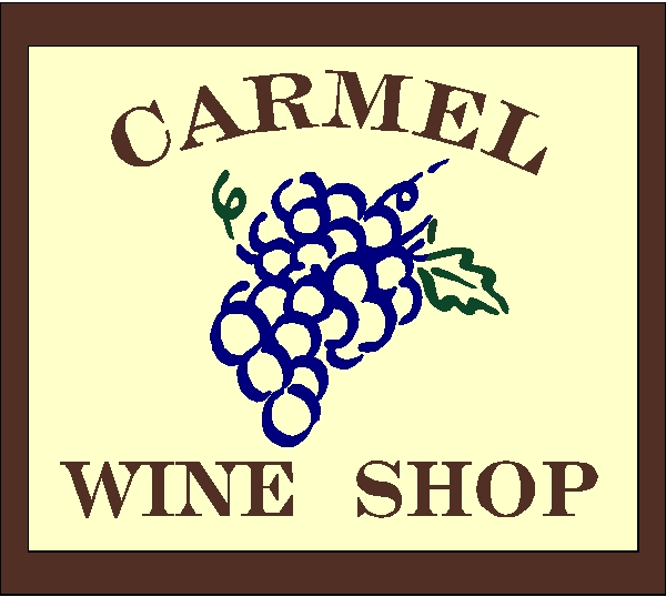 R27110 -Overhead Hanging Carved Wood  Sign for Carmel Wine Shop
