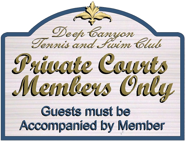 GB16855 - Carved HDU Tennis Court  Entrance Sign for the Deep Canyon Tennis and Swim Club