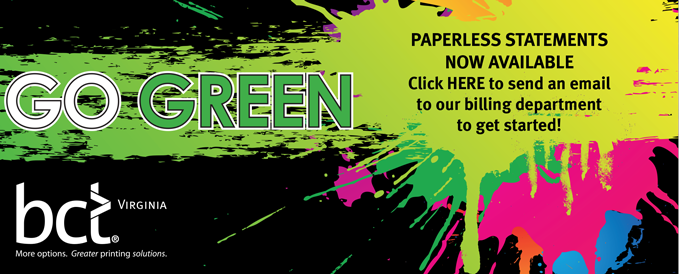 GO GREEN PAPERLESS STATEMENTS