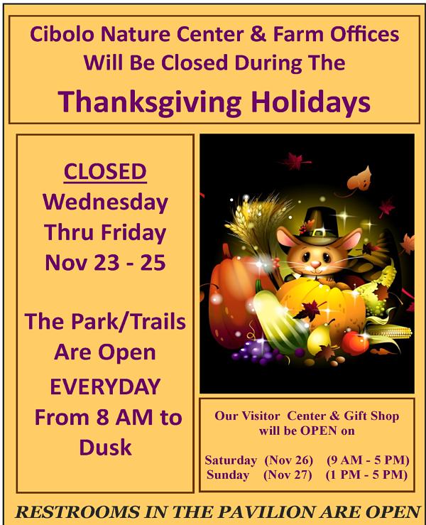 CNC&F closed for Thanksgiving Break