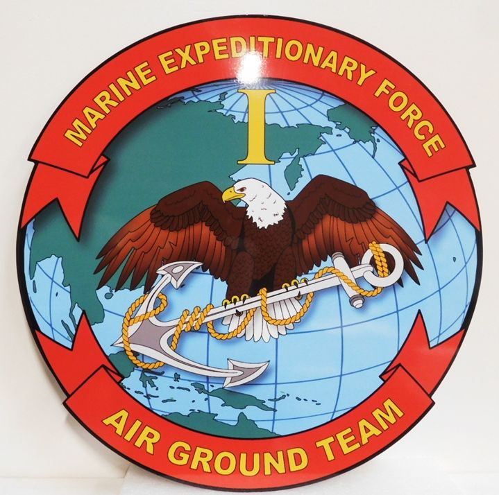 KP-2085 - Plaque of the Insignia of the  Marine Expeditionary Force, Air Ground Team, 2-D Giclee Mounted on Sintra Board