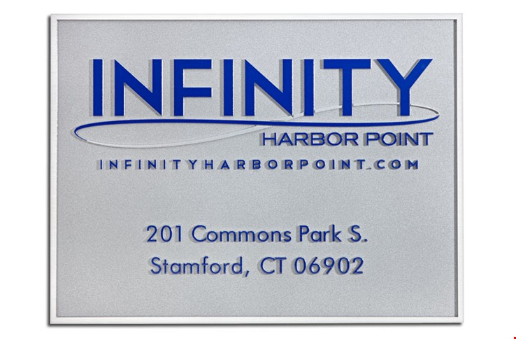 """M7546  -  Precision Machined Aluminum  Company Address Sign """"Infinity at Harbor Point""""  Plaque"""