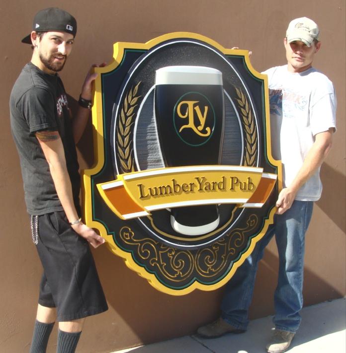RB27530 - Large Carved 3-D Pub Sign with Beer Mug