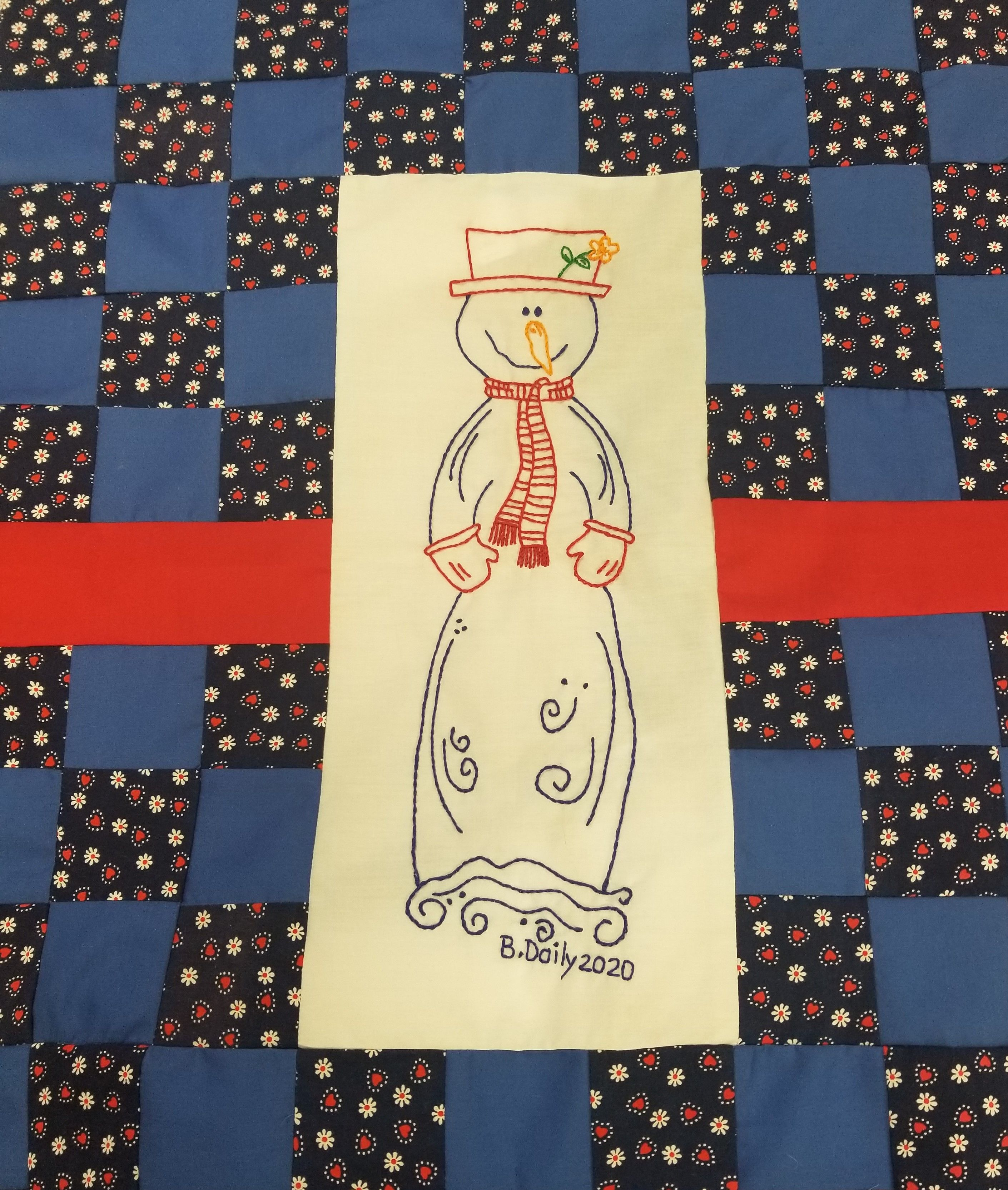 Snowman Hand Embroidery Wall Quilt - 3 of 4