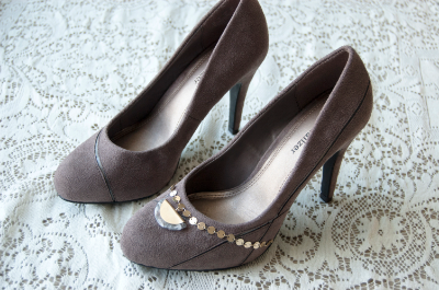 Before-and-after of embellished shoes.