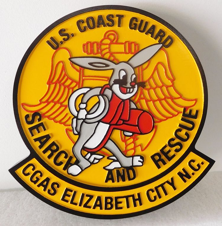 V31978 -  Carved 2.5-D  HDU Wall  Plaque of  Crest for  US Coast Guard Search and Rescue Station (CGAS) at Elizabeth City, North Carolina. featuring Rabbit Logo