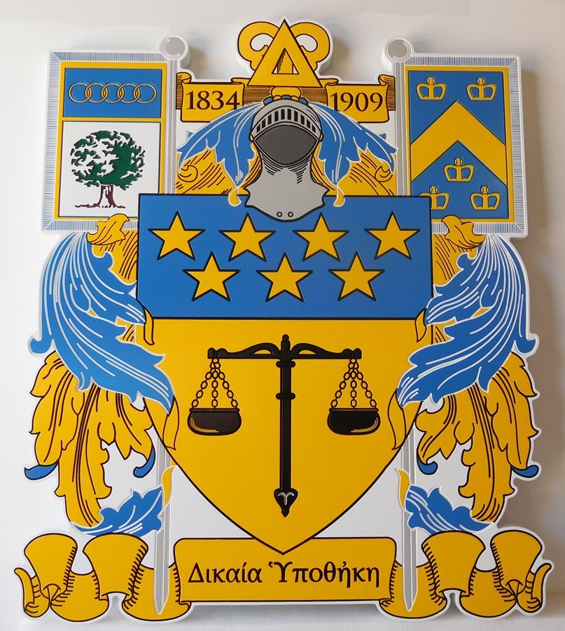 Y34522 - Carved and Engraved HIgh-Density-Urethane Wall Plaque featuring a Coat-of-Arms for a Fraternity