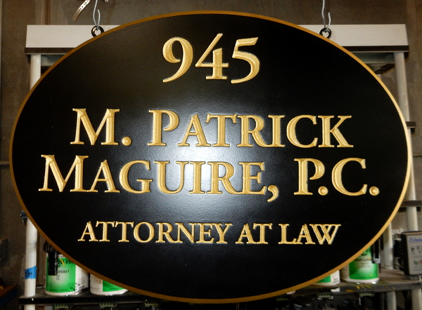 M7347 - Engraved V-Carved Gold-Leaf Gilded Text for an Attorney Sign