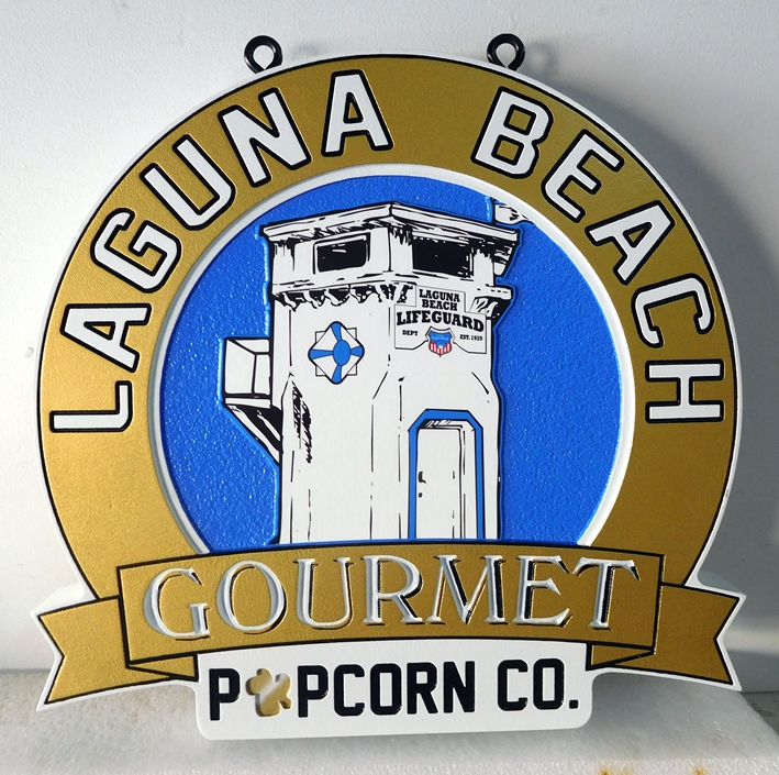 Q25814 - Outdoor Hanging Sign for Laguna Beach Gourmet Popcorn Company with Decorative Drawing of Lifeguard Station