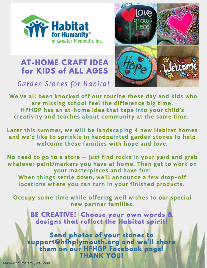 At-Home Craft to keep the kids busy - Garden Stones for Habitat.