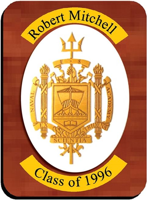 RP-2014 - Carved Wall Plaque of  the Crest of the US Naval Academy, Personalized, Gold Metallic Paint on Mahogany Wood