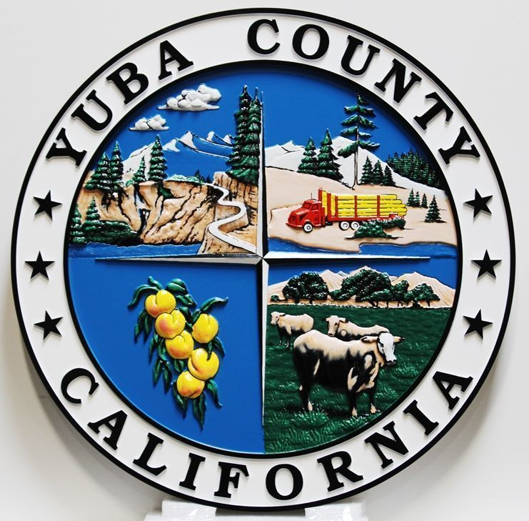 X33418 - Carved 3-D HDU  Plaque of the Seal of Yuba County, California