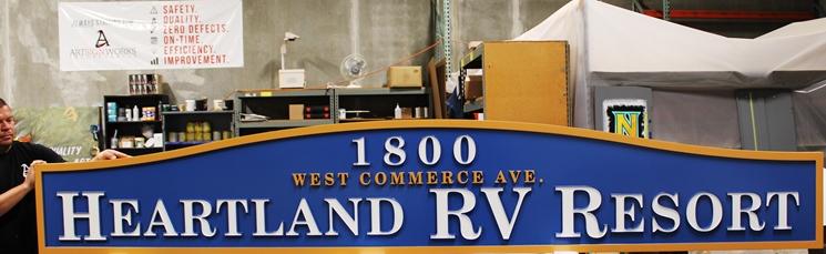 G16302 - Carved HDU Entrance and AddressSign for Highland RV Resort.