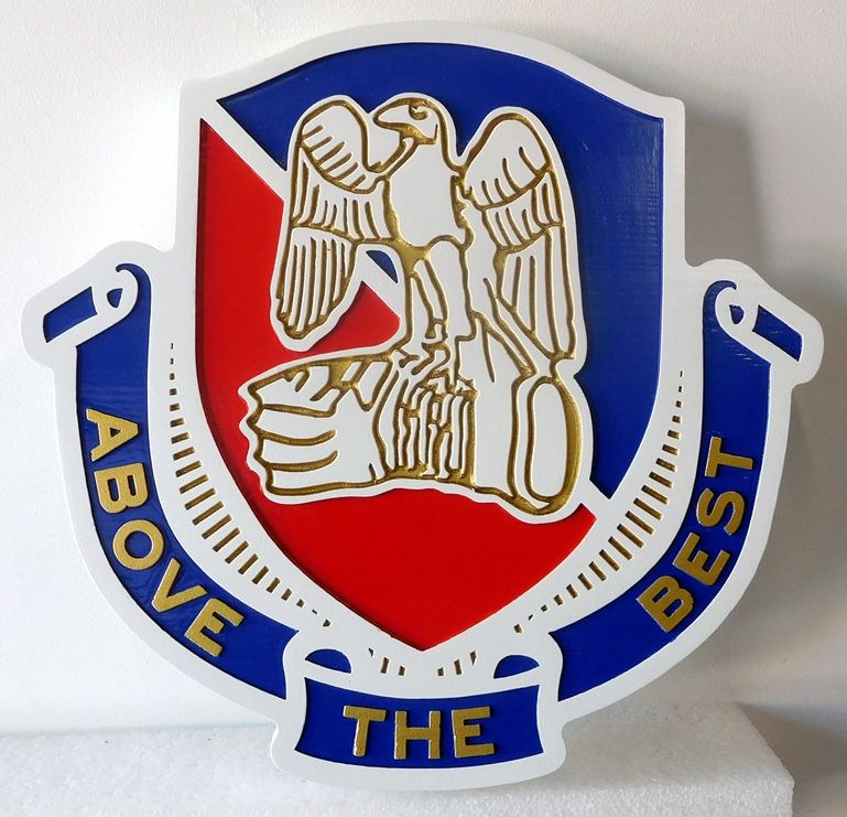 V31789 -  Wall Plaque of a Crest for a  US Army Unit,  Carved in 2.5-D Raised and Engraved Relief