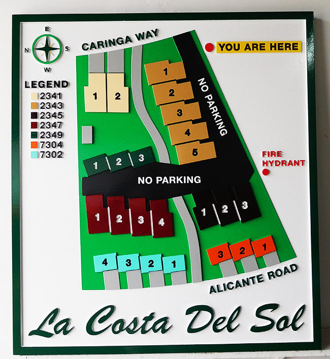 KA20799 - Carved 2.5-D Property Map with Buildings and Streets  for La Costa Del Sol Apartments