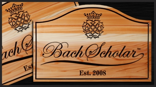 TP-1460 - Engraved  Wall Plaque of the Logo of a Bach Scholar,  Cedar