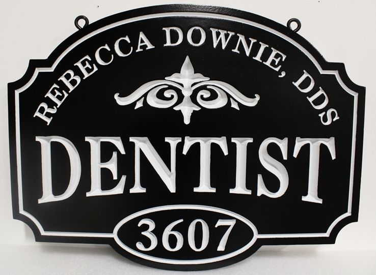 BA11561 - Elegant Carved HDU Dentist Sign with Flourish as Artwork