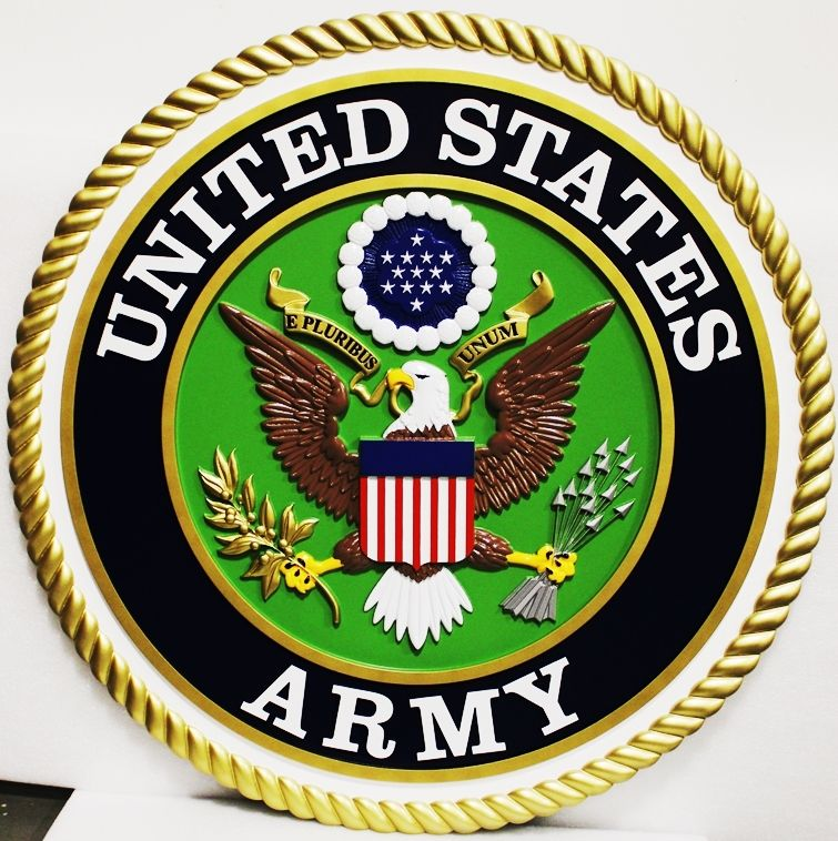 MP-1012 - Large Carved Plaque of the Emblem of the US Army, 3-D Artist-Painted